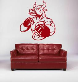 BOXING BULL Wall Decal Animal Sticker Gloves Tournament gym