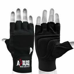 BUKA LEATHER WEIGHT LIFTING GLOVES PADDED GYM BODY BUILDING