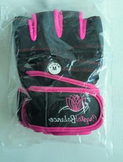 CRYSTAL BALANCE Women's Hot Pink & Black Gym Gloves Wrist St