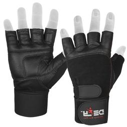 DEFY Real Leather Padded Gym Gloves Fitness Weightlifting Tr