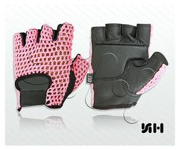 GEL PADDED LEATHER GYM GLOVES FITNESS CYCLING WEIGHT LIFTING