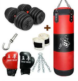 Heavy Punching Bag Gloves & Chain Boxing MMA Training + Weig