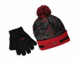 knit beanie and gloves set gym red