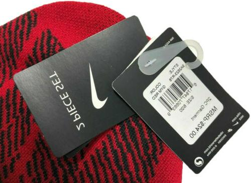 Nike Boys Beanie and Gloves Red, Size