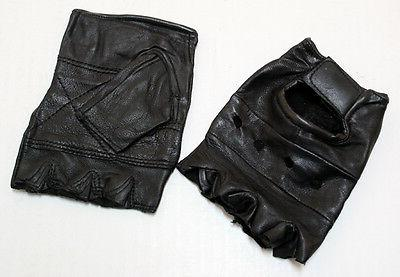 leather fingerless gloves weight training gym driving