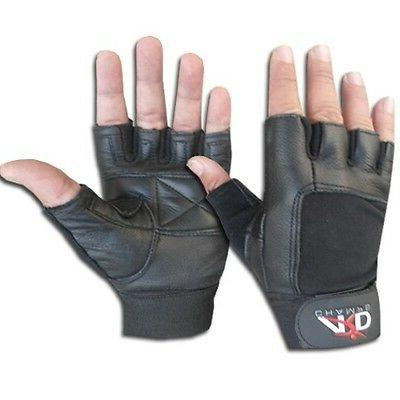 leather weight lifting gloves long wrist wrap