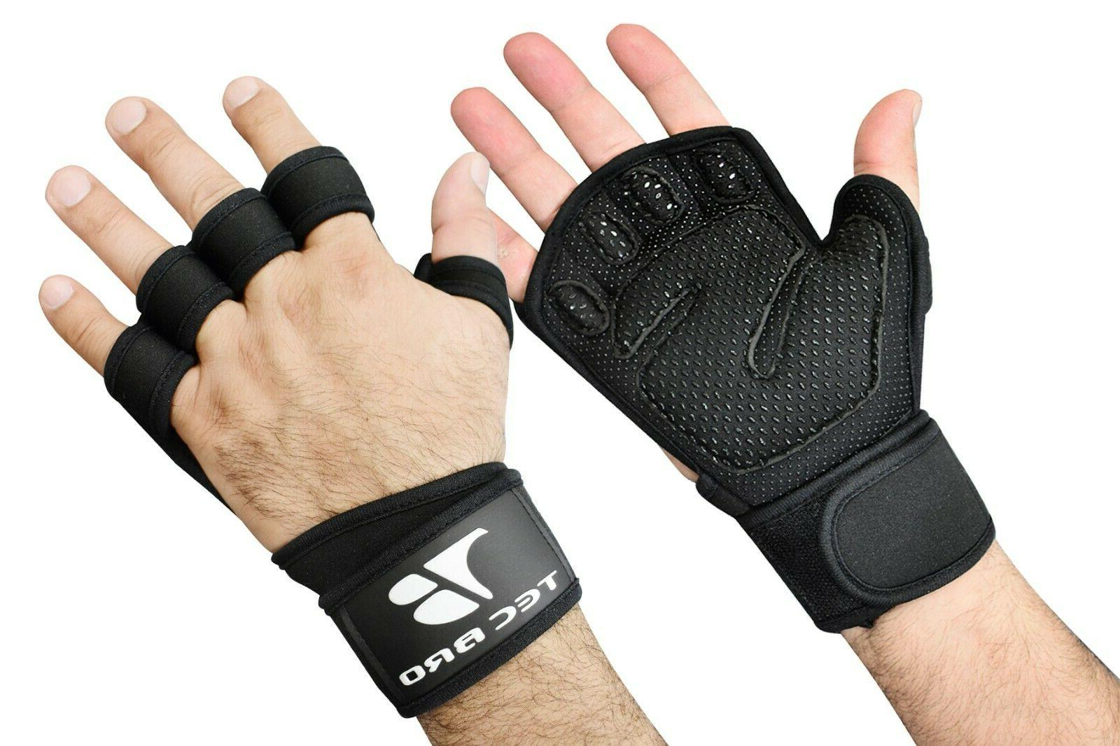 ventilated weight lifting gym gloves built in