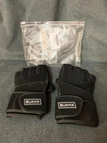 Xhaus Weight Gym Workout Gloves Wrist Wrap Support Breathable & Non Sl