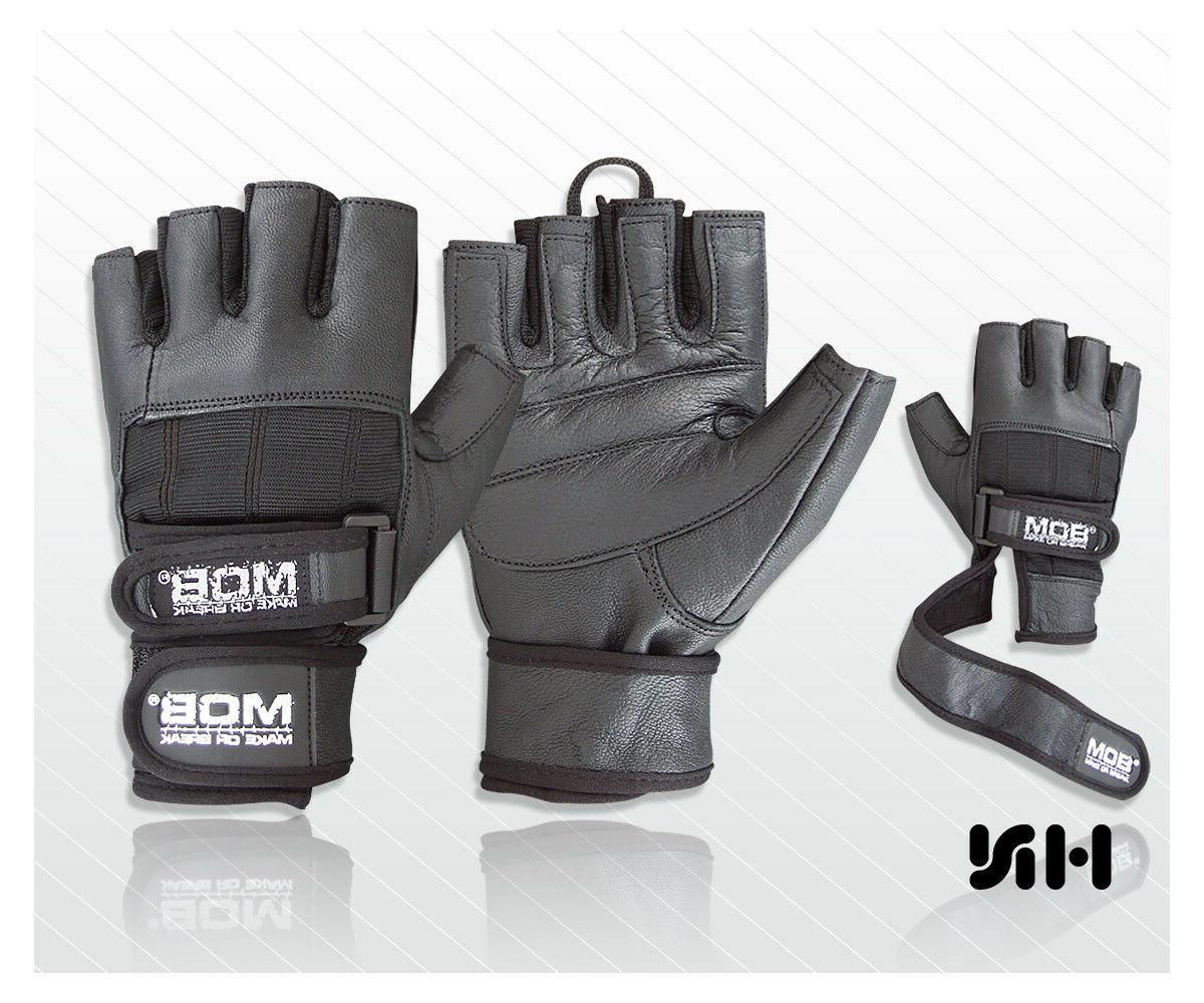 weight lifting padded leather gloves fitness training