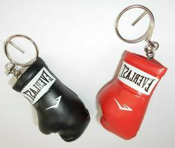 Everlast Leather Boxing Glove Keychain Lot 2pc Black & Red S