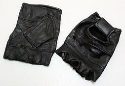 LEATHER FINGERLESS GLOVES WEIGHT TRAINING, GYM, DRIVING, CYC
