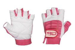 Leather Gloves Pink & white women Ladies weight lifting Exer
