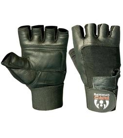 Leather Weight Lifting Gloves Long Wrist Wrap Padded Strengt