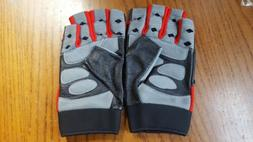 Men's Leather & Stretch Fabric L Gym Gloves Fitness Half Fin