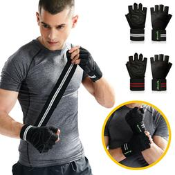 Mens Women Gym Gloves With Wrist Wrap Support For Weight Lif