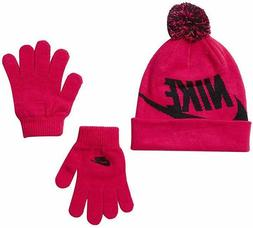 NWT NIKE Kids/Youth Swoosh Pom Beanie Hat and Gloves Set Var