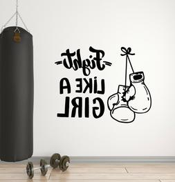 Vinyl Wall Decal Gloves Boxing Sports Gym Fight Club Words S