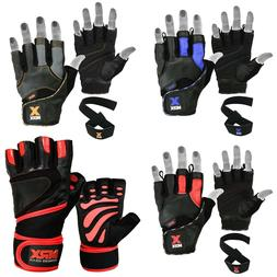 Weight Lifting Gloves Gym Leather Workout Training Fitness B