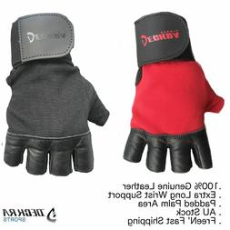 Deckra Weight Lifting Gloves Gym Training, Leather Padded Wo