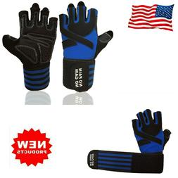 Weight Lifting Gloves Long Wrist Wrap Padded Strength Traini