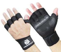 Fit Active Sports Weight Lifting Gloves with Wrist Wraps for