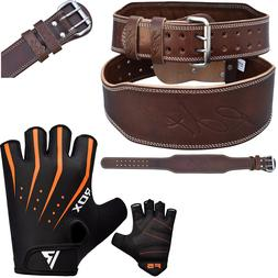RDX Weight Lifting Gym Gloves Oiled Leather Belt 4 With Trai