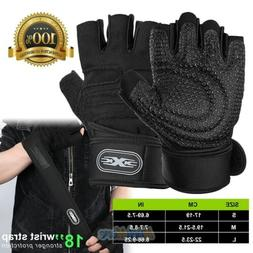 Weight Lifting Gym Gloves Workout Wrist Wrap Sports Exercise