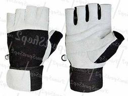 WEIGHT LIFTING GYM PADDED LEATHER GLOVES FITNESS TRAINING SP