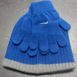 NIKE WINTER HAT & GLOVE COMBO GYM BLUE SIZE 8/20